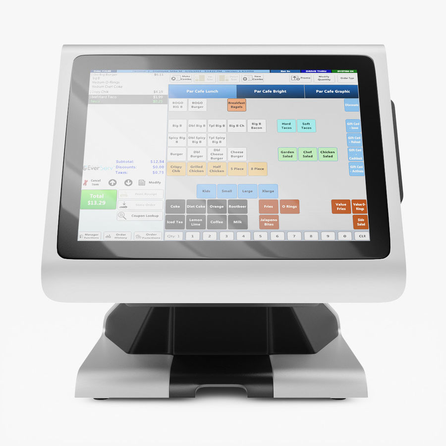 POS Terminal EverServ 7000 royalty-free 3d model - Preview no. 7