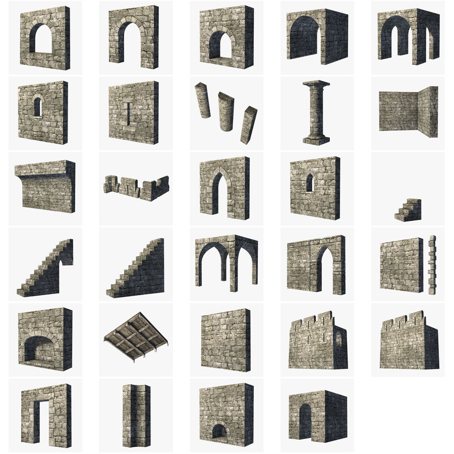 Modular Castle / Dungeon Building Set royalty-free 3d model - Preview no. 1