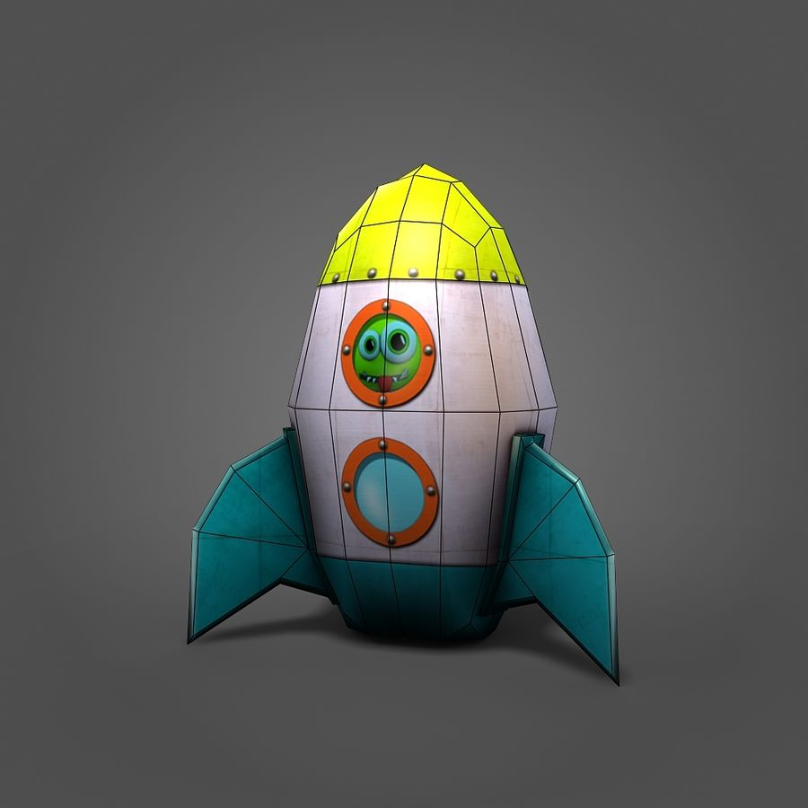 Low poly Cartoon Rocket royalty-free 3d model - Preview no. 4