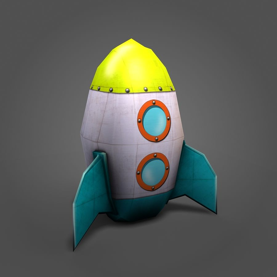 Low poly Cartoon Rocket royalty-free 3d model - Preview no. 6