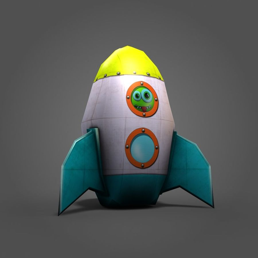 Low poly Cartoon Rocket royalty-free 3d model - Preview no. 3