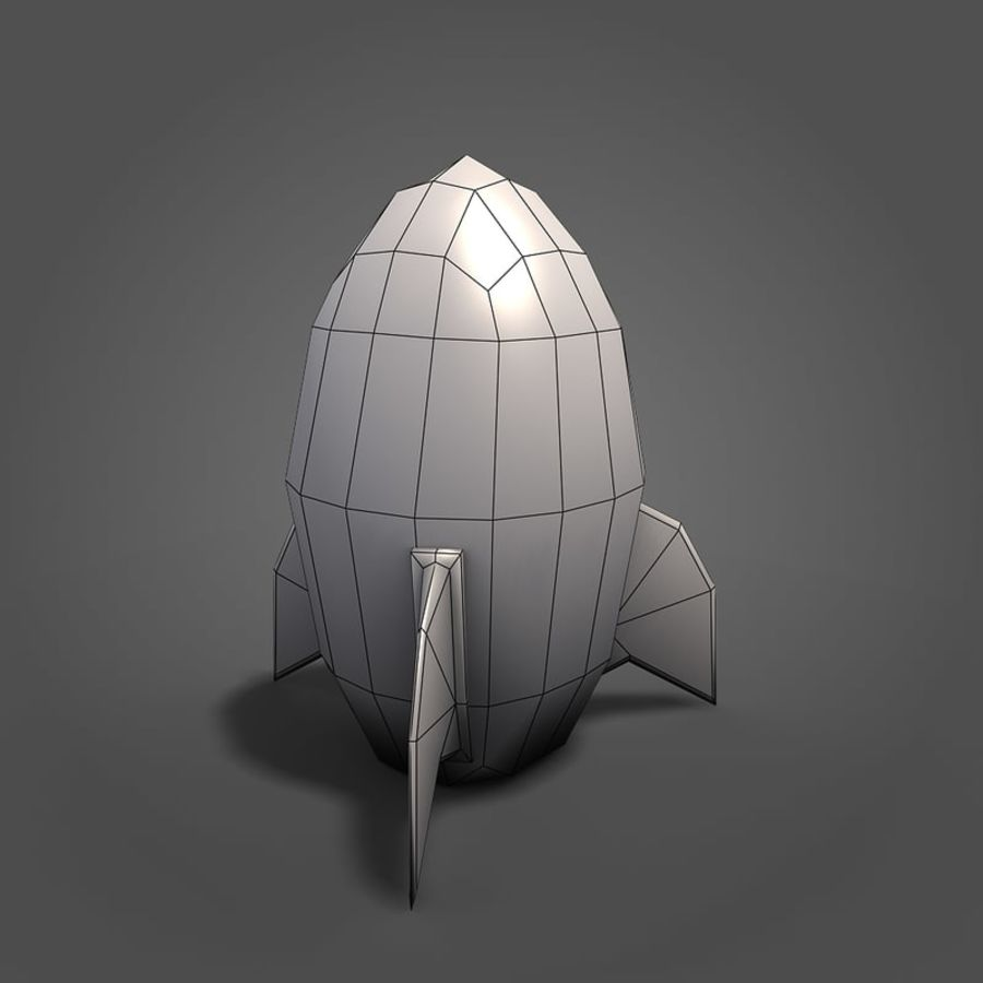 Low poly Cartoon Rocket royalty-free 3d model - Preview no. 5