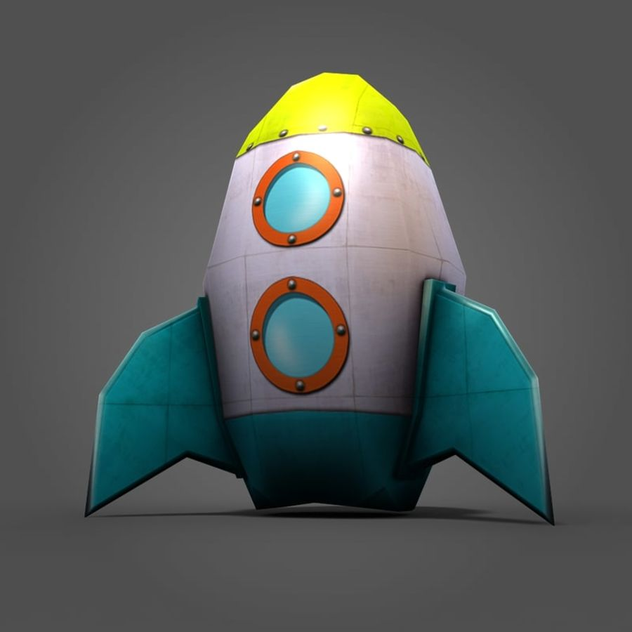 Low poly Cartoon Rocket royalty-free 3d model - Preview no. 7