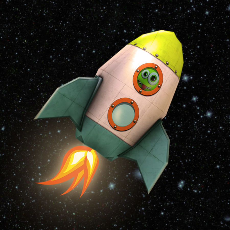 Low poly Cartoon Rocket royalty-free 3d model - Preview no. 1