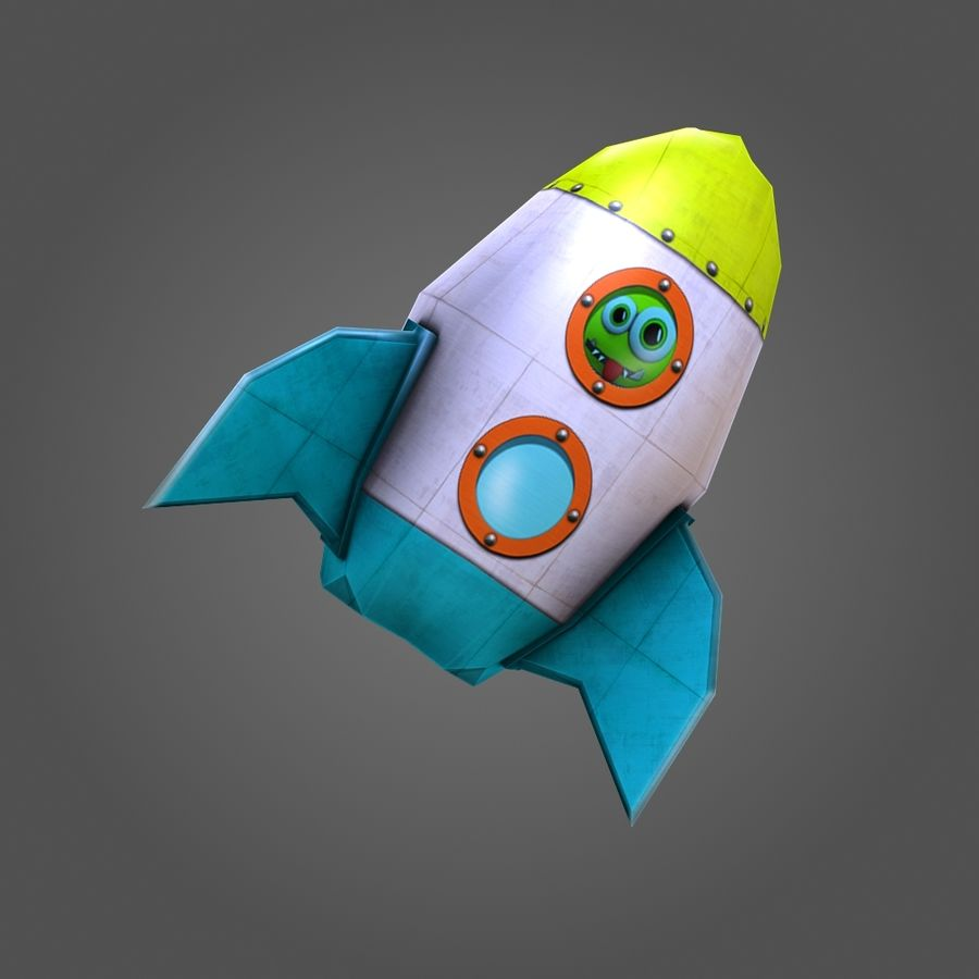 Low poly Cartoon Rocket royalty-free 3d model - Preview no. 8