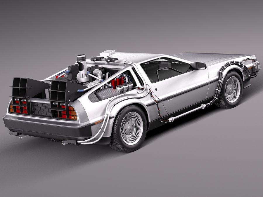 Delorean Back to the Future episode 1 royalty-free 3d model - Preview no. 5