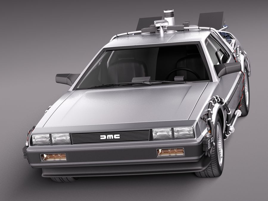 Delorean Back to the Future episode 1 royalty-free 3d model - Preview no. 2