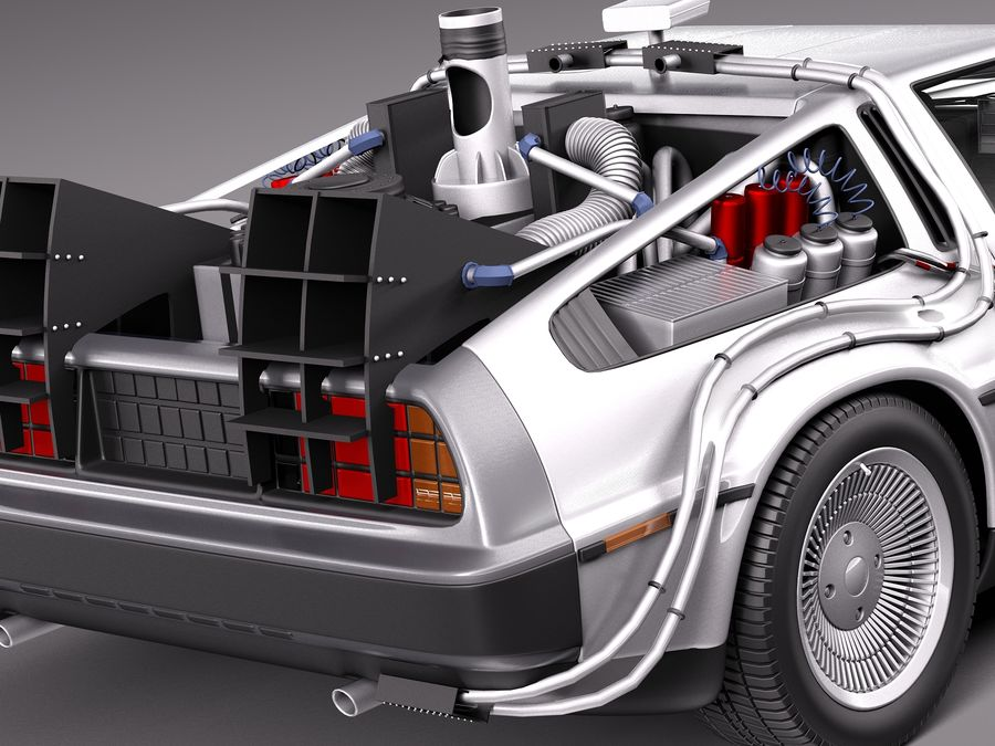 Delorean Back to the Future episode 1 royalty-free 3d model - Preview no. 4