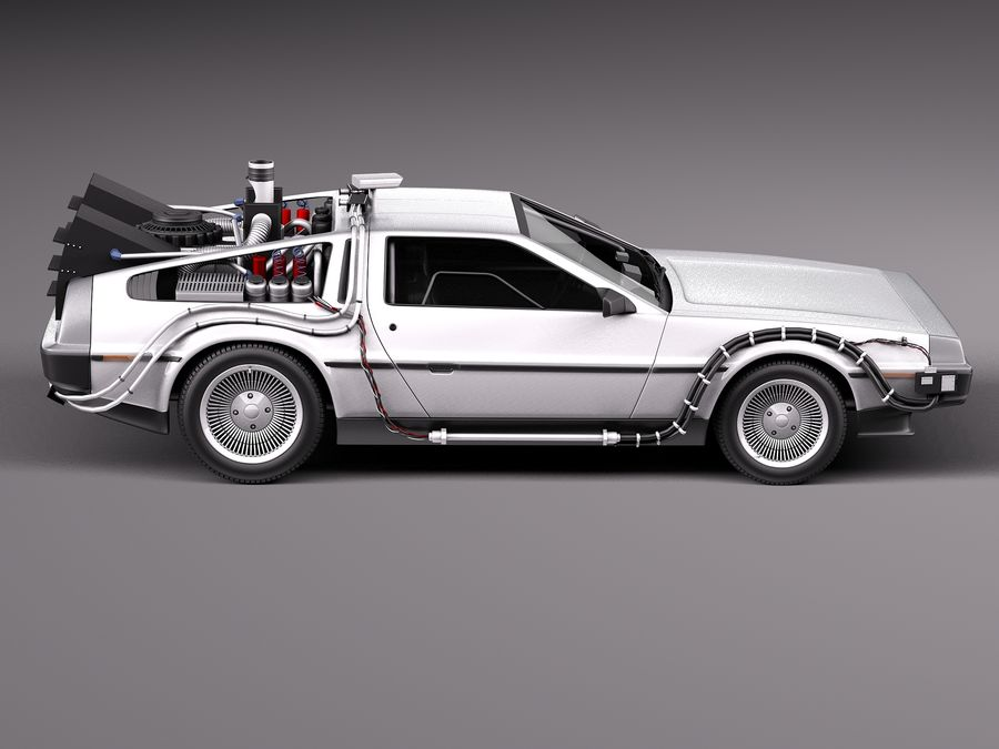 Delorean Back to the Future episode 1 royalty-free 3d model - Preview no. 7