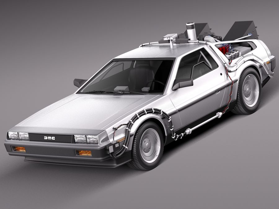 Delorean Back to the Future episode 1 royalty-free 3d model - Preview no. 1
