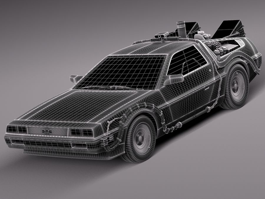 Delorean Back to the Future episode 1 royalty-free 3d model - Preview no. 9