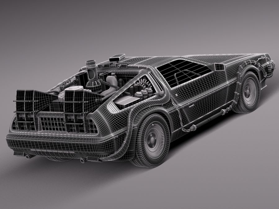 Delorean Back to the Future episode 1 royalty-free 3d model - Preview no. 10