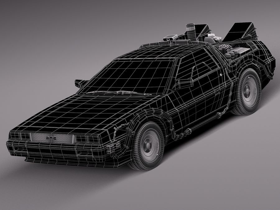 Delorean Back to the Future episode 1 royalty-free 3d model - Preview no. 12