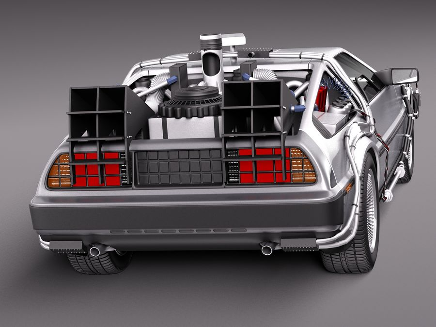 Delorean Back to the Future episode 1 royalty-free 3d model - Preview no. 6