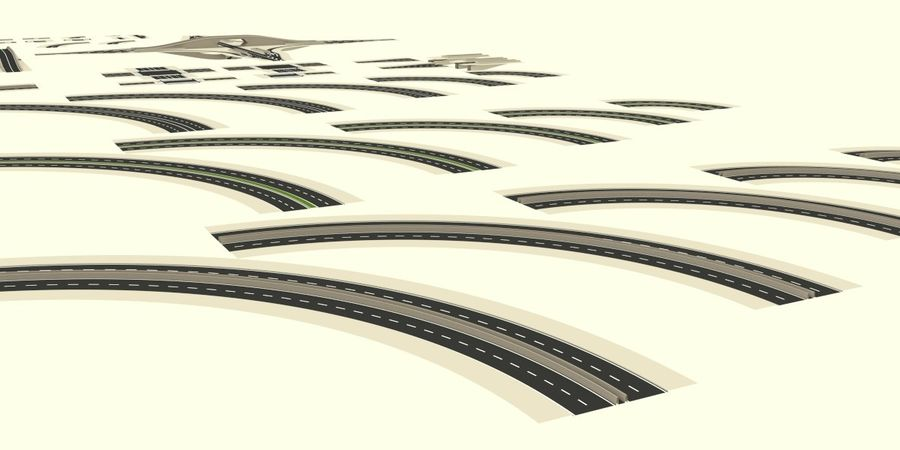 Modular city roads royalty-free 3d model - Preview no. 5