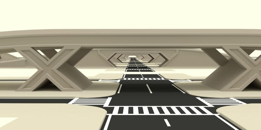 Modular city roads royalty-free 3d model - Preview no. 7