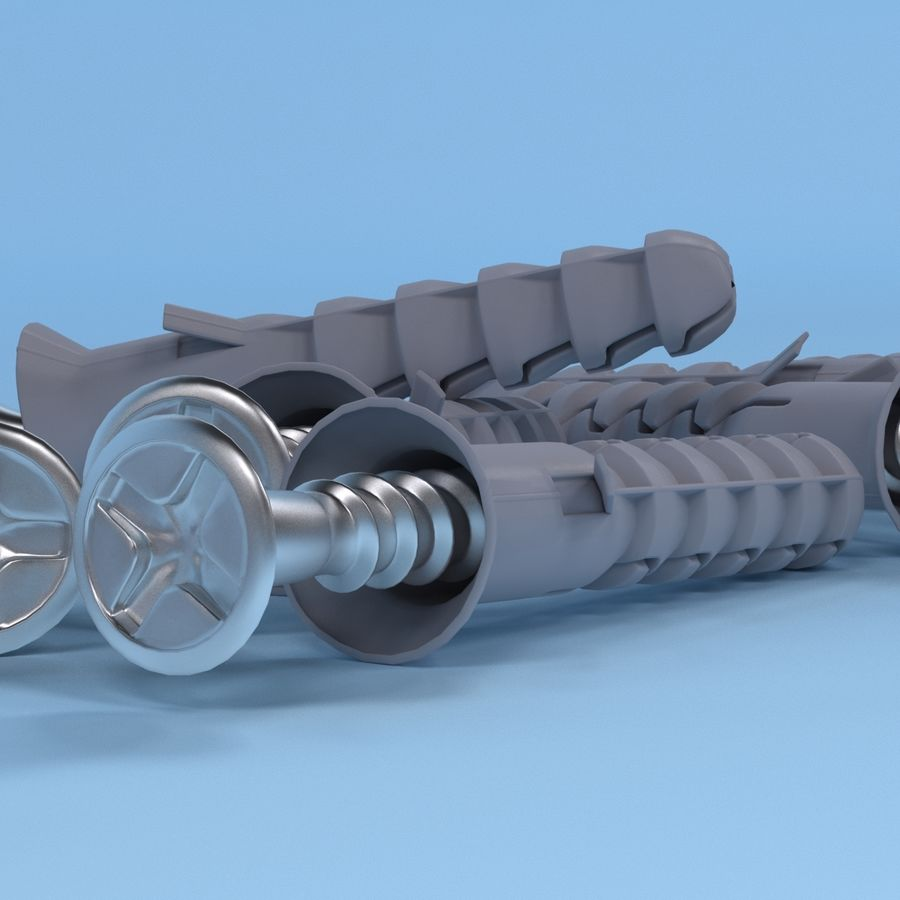 Screw with dowel royalty-free 3d model - Preview no. 6