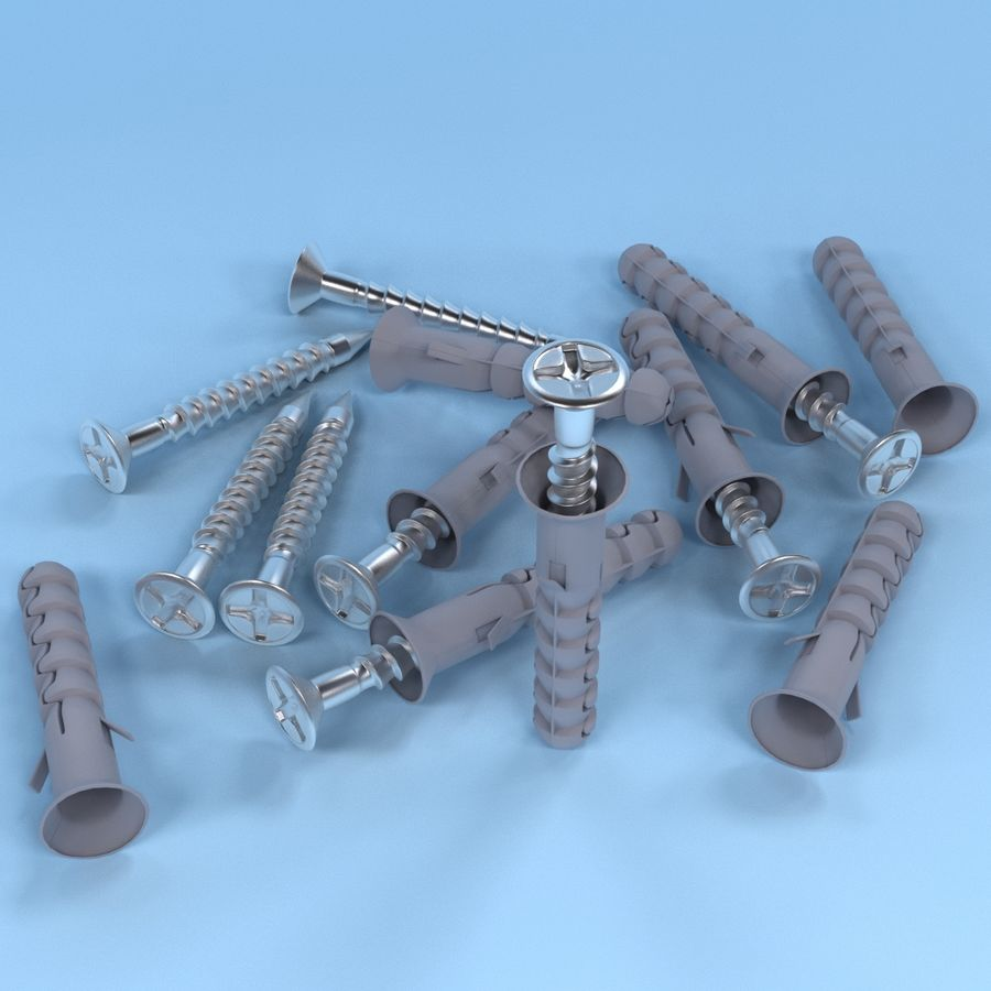 Screw with dowel royalty-free 3d model - Preview no. 2
