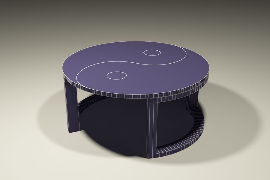 yin & yang marble coffee table royalty-free 3d model - Preview no. 4