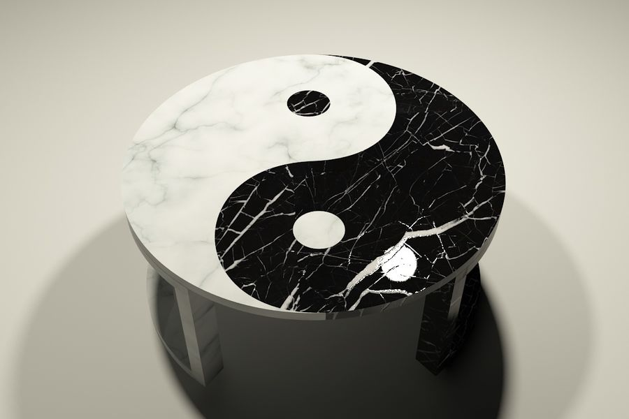 yin & yang marble coffee table royalty-free 3d model - Preview no. 2