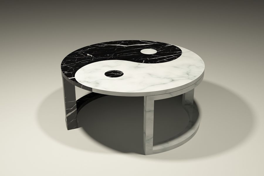 yin & yang marble coffee table royalty-free 3d model - Preview no. 1