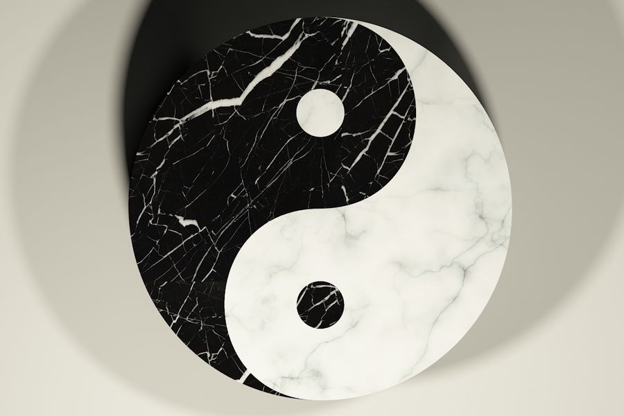 yin & yang marble coffee table royalty-free 3d model - Preview no. 3