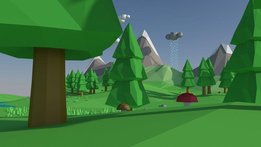 Escena de paisaje de baja poli de dibujos animados royalty-free modelo 3d - Preview no. 5