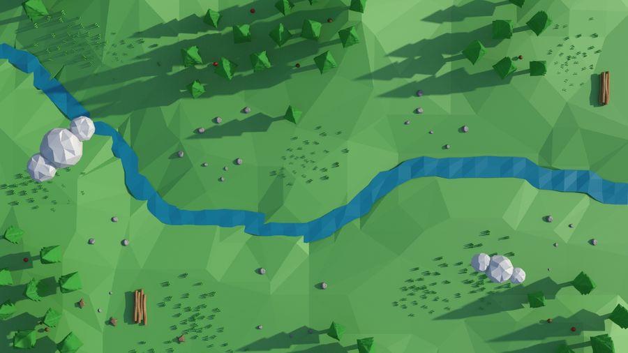 Escena de paisaje de baja poli de dibujos animados royalty-free modelo 3d - Preview no. 14