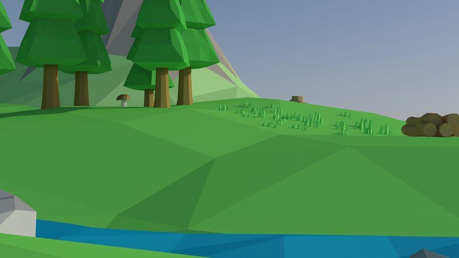 Escena de paisaje de baja poli de dibujos animados royalty-free modelo 3d - Preview no. 6