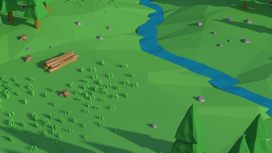 Escena de paisaje de baja poli de dibujos animados royalty-free modelo 3d - Preview no. 15