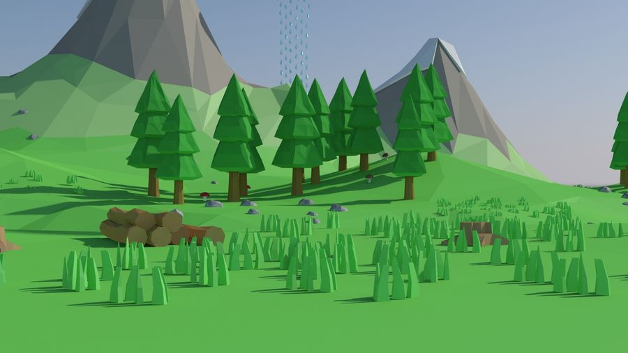 Bande dessinée paysage basse poly royalty-free 3d model - Preview no. 3