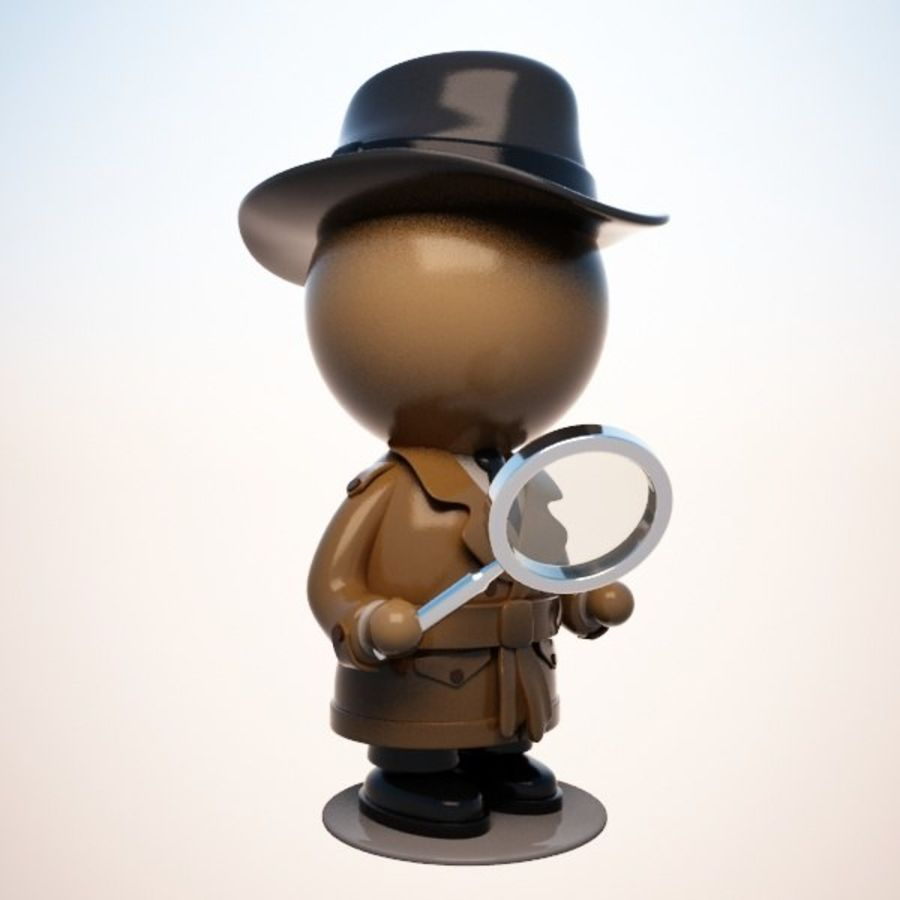 Personnage détective royalty-free 3d model - Preview no. 6