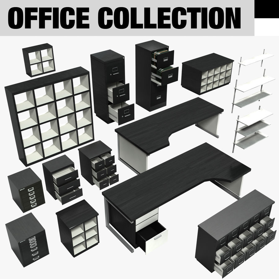 Collezione di mobili per ufficio royalty-free 3d model - Preview no. 1