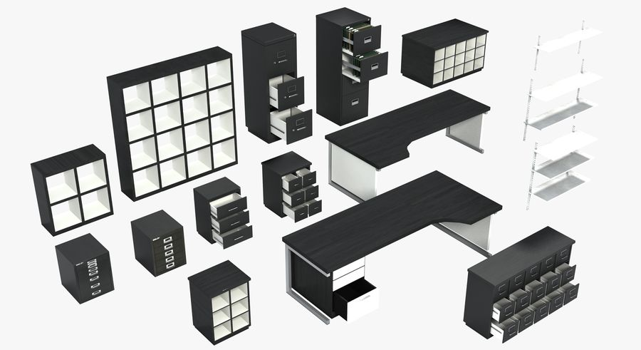 Office Furniture Collection royalty-free 3d model - Preview no. 32
