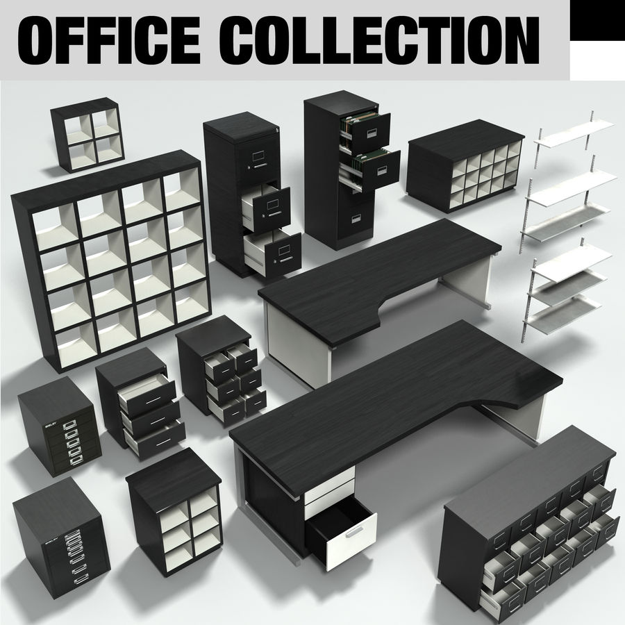 Collezione di mobili per ufficio royalty-free 3d model - Preview no. 2