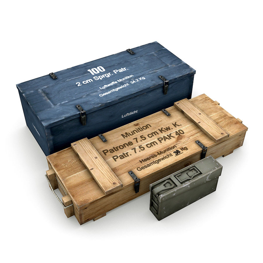 WW2 Ammo Crates 1 royalty-free 3d model - Preview no. 1