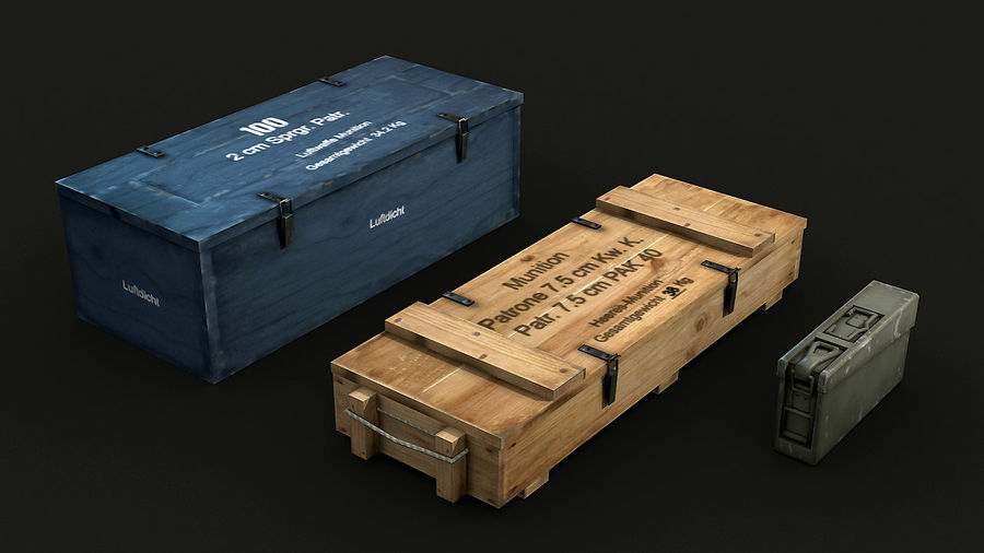 WW2 Ammo Crates 1 royalty-free 3d model - Preview no. 6