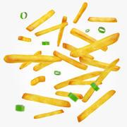 Pommes frites och gröna lökar 3d model