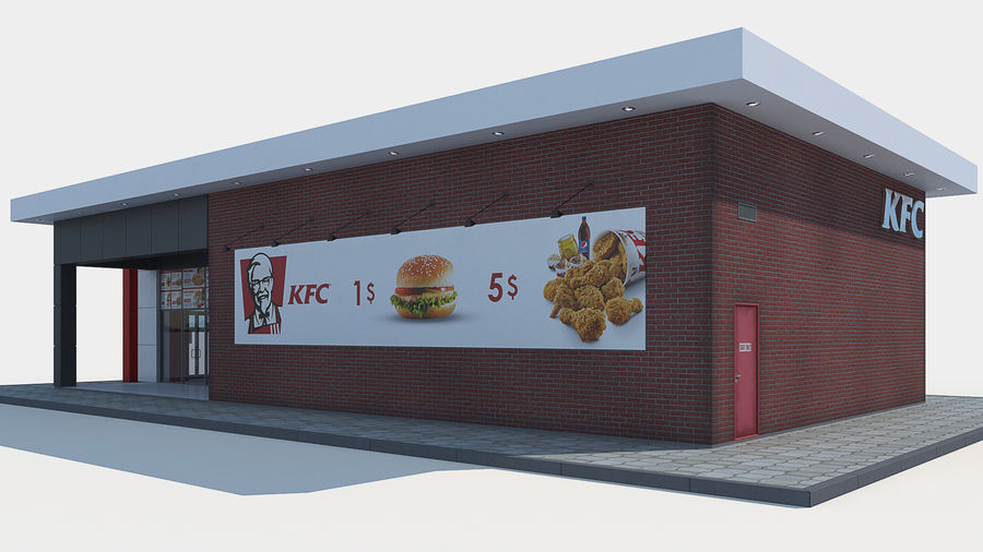 KFC restaurant royalty-free 3d model - Preview no. 4