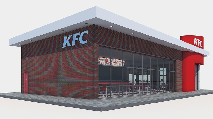 KFC restaurant royalty-free 3d model - Preview no. 3