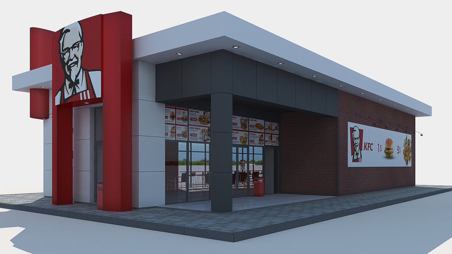 KFC restaurant royalty-free 3d model - Preview no. 2