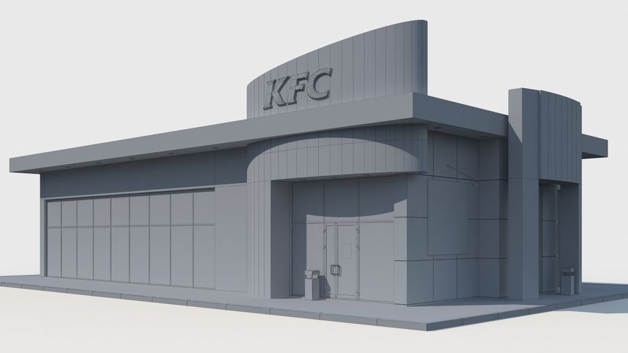 KFC restaurant royalty-free 3d model - Preview no. 6