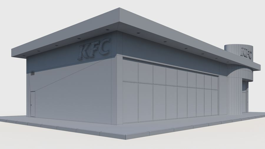 KFC restaurant royalty-free 3d model - Preview no. 8