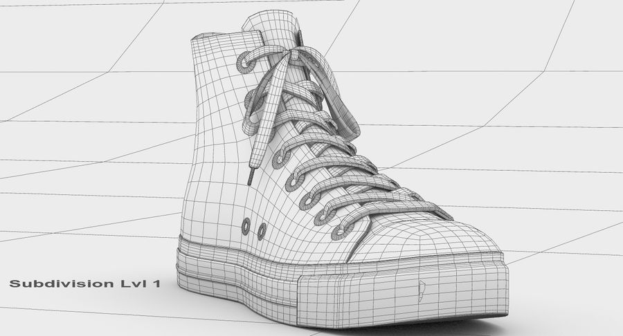 Converse All Star Sneakers ( Red ) royalty-free 3d model - Preview no. 18