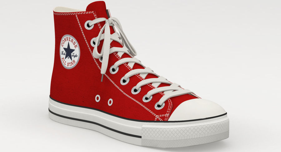 Converse All Star Sneakers ( Red ) royalty-free 3d model - Preview no. 5