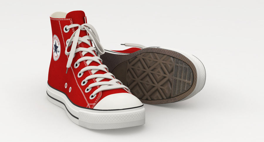 Converse All Star Sneakers ( Red ) royalty-free 3d model - Preview no. 11