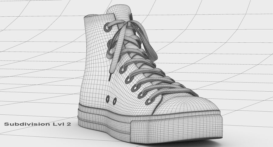 Converse All Star Sneakers ( Red ) royalty-free 3d model - Preview no. 19