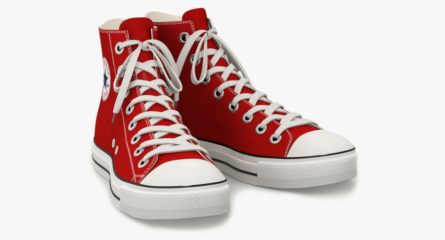 Converse All Star Sneakers ( Red ) royalty-free 3d model - Preview no. 2