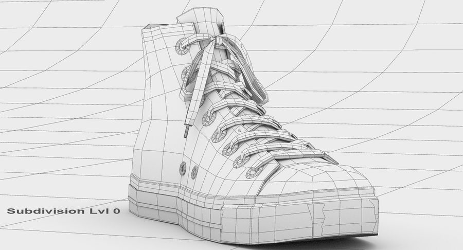 Converse All Star Sneakers ( Red ) royalty-free 3d model - Preview no. 17