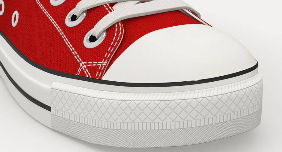 Converse All Star Sneakers ( Red ) royalty-free 3d model - Preview no. 9
